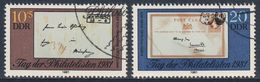 DDR Germany 1981 Mi 2646 /7 - CTO - Letter Friedrich Engels (1840) + Postcard Karl Marx (1878) - Stamp Day - Karl Marx