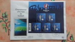 France; Bloc F No 137 Championnat D'Europe De Football Sur Enveloppe FDC - Sheetlets