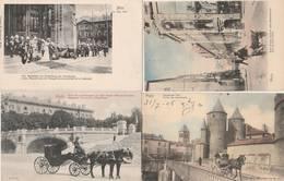 4 CPA:METZ (57) RUE DU PETIT PARIS,ATTELAGE PORTE DES ALLEMANDS,COUPLE DE MAJESTÉS CATHÉDRALE,ATTELAGE FONTAINES - Metz