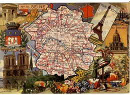 75 PARIS  TOUR EIFFEL ARC DE TRIOMPHE NOTR -  CARTE GEOGRAPHIQUE  EDITION BLONDEL  -  CPM 1950 / 60 ILLUSTRATION PINCHON - France