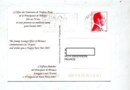 Carte Flamme Monte Carlo Voeux Sur Albert Vue Portrait Albert II - Marcophilie - EMA (Empreintes Machines)