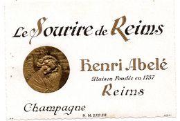 Etiquette Champagne Sourire De  Reims Henri Abelé - Vieux Papiers