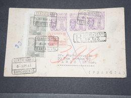 ESPAGNE - Enveloppe En Recommandé De Carcagente Pour La France Avec Censure De Valence Au Verso En 1944  - L 14455 - Marcas De Censura Nacional