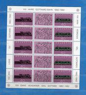 (Riz)Svizzera ** - 1982 - FERROVIA Del SAN GOTTARDO. MNH Vedi Descrizione - Blocks & Sheetlets & Panes