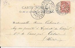 MEURTHE ET MOSELLE 54 - NANCY GARE   - CACHET RECETTE R A3  - ARRIVEE NIEVRE A COSTE  R A3  1902 CATALOGUE LAUTIER - Bolli Manuali
