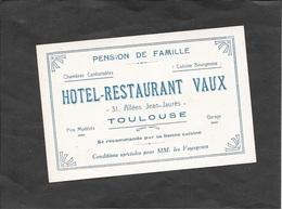 TOULOUSE - Carte De Visite HOTEL-RESTAURANT VAUX (12 X 8 Cm). - Toulouse
