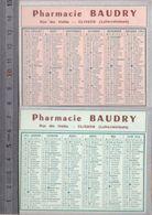 2 Calendriers -  Petit Format - Année  1955 En Rose Et En Bleu  - Pharmacie Baudry, Rue Des Halles, Clisson - Calendriers
