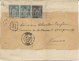 PLI RECOMMANDE 1893 AVEC 3 TIMBRES AU TYPE SAGE - Poststempel (Briefe)
