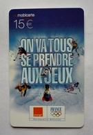 Mobicarte Recharge COLLECTOR - SALT LAKE CITY - JEUX OLYMPIQUES D'HIVER - FRANCE - Sport