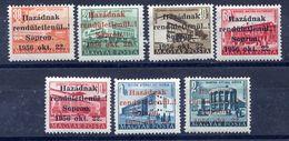 HUNGARY 1956 Sopron Overprints, Short Set Of 7 Values MNH / **.  Michel 5-9, 13,17 - Hungary