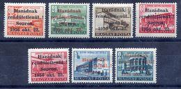 HUNGARY 1956 Sopron Overprints, Short Set Of 7 Values LHM / *.  Michel 5-9, 13,17 - Hungary