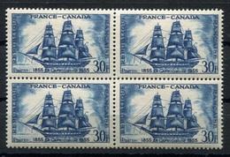 RC 7375 FRANCE N° 1035 - NAVIRE LA CAPRICIEUSE FRANCE CANADA 1955 BLOC DE 4 COTE 24€ NEUF ** TB - France