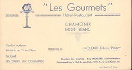 Les Gourmets   Hôtel-Restaurant - Chamonix Mont-Blanc - Mollard Frères, Propriétaires - Ancienne Carte De Visite - Visiting Cards