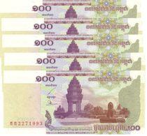 CAMBODIA 100 RIELS 2001 P-53a UNC 5 PCS [KH416a] - Cambodia