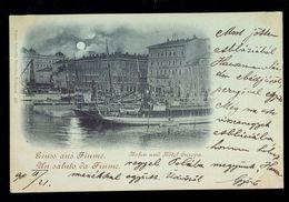Gruss Aus Fiume Hafen Und Hotel Europa / Edgar Schmidt / Year 1898 / Postcard Circulated, 2 Scans - Croatie