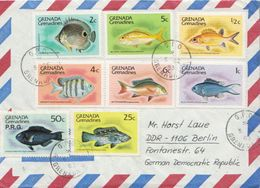 Postal History Cover: Grenada Grenadines 8 Fishes Stamps On Cover - Fishes