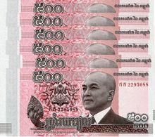 CAMBODIA 500 RIELS 2014 (2015) P-66a UNC 6 PCS [KH429a] - Cambodia