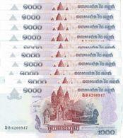 CAMBODIA 1000 RIELS 2007 P-58b UNC 10 PCS [KH421b] - Cambodia