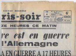 PARIS SOIR Du 4 Septembre 1939 - Journaux - Quotidiens