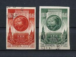 URSS201) 1946 Anniversario Rivoluzione D'Ottobre- Serie Cpl 2val ND Used - 1923-1991 URSS