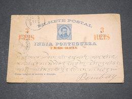 INDE PORTUGAISE - Entier Postal Surchargé Pour Bombay En 1887 - L 14509 - Inde Portugaise