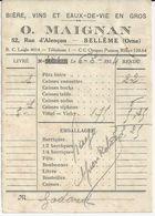 BELLEME O MAIGNAN BIERES VINS EAUX DE VIE EN GROS PETIT BON DE LIVRAISON  ANNEE 1934 - France
