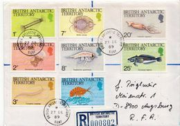 Postal History Cover: British Antarctic Territory Marine Life Stamps On 2 R Covers - Vie Marine