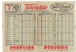 SCHEDINA TOTOCALCIO 1956 - CHINOTTO RECOARO - PERUGINA - BIALETTI - CARPANO - SCUOLA RADIO ELETTRA - Other