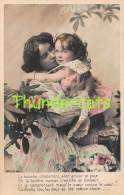 CPA JEUNE FILLE AVEC MERE  FLEURS RPPC REAL PHOTO POSTCARD MOTHER WITH CHILD GIRL FLOWERS - Groupes D'enfants & Familles