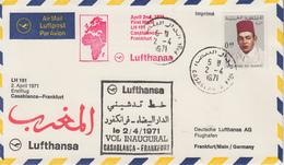 Enveloppe  MAROC   1er  Vol  Inaugural  CASABLANCA  - FRANKFURT  1971 - Marocco (1956-...)