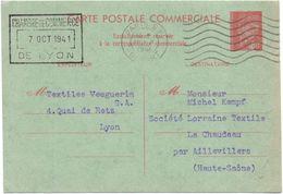 Petain Carte Commerciale De Lyon Pour La Haute Saone Aillevillers - Entiers Postaux