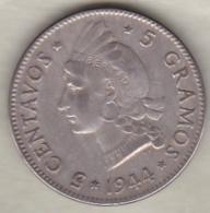 Republique Dominicaine . 5 Centavos 1944 , Argent, KM# 18a - Dominicana