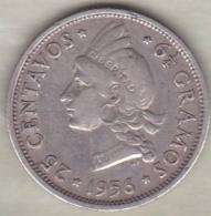 Republique Dominicaine . 25 Centavos 1956 , Argent, KM# 20 . - Dominicaine