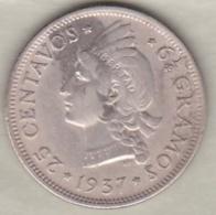 Republique Dominicaine . 25 Centavos 1937 , Argent, KM# 20 . - Dominicaine
