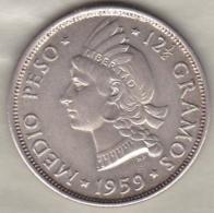Republique Dominicaine . 1/2 Peso (Medio) 1959 , Argent, KM# 21 - Dominicana