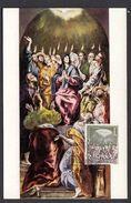 SPAIN ESPAGNE 1962 MAXIMUM CARD MYSTERIES OF THE ROSARY - PENTECOST - MUSEUM OF EL PRADO - Christianity