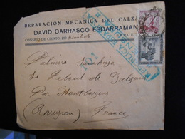 Enveloppe 1938 Espagne - Republica Espanola Censura - Reparacion Mecanica David Carrasco -- Lettre --  CL18 - Marques De Censures Républicaines