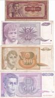 LOTTO 4 BANCONOTE YUGOSLAVIA - Yougoslavie