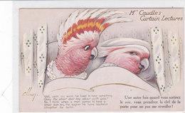 CARD ANIMALI UMANIZZATI COPPIA PAPPAGALLI A LETTO Mrs.CAUDLE'S  TUCK'S OILETTE  -FP-N-2-0882-27899 - Oiseaux