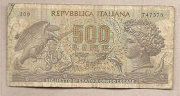 """Italia - Banconota Circolata Da 500 Lie """"Aretusa"""" P-93a.1 - 1966 - [ 2] 1946-… : Repubblica"""