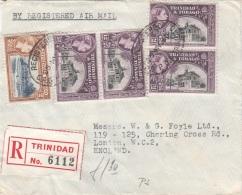 TRINIDAD & TOBAGO 1960 - 5 Fach Frankierung (Sondermarken) Auf LP-R-Brief Gel.v. Trinidad N. London - Antillen