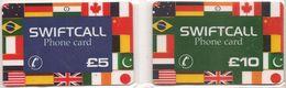 2-CARTES+PREPAYEES-GB-5/10£-SWIFCALL-DRAPEAUX- TBE- - Royaume-Uni