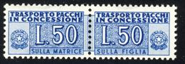 1953 – Pacchi Concessione 50 Lire Azzurro Filigrana Ruota. MNH** - Colis-concession