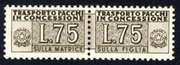 1955 – Pacchi Concessione 75 Lire Bruno Filigrana Stelle 2° Tipo. MNH** - 6. 1946-.. Repubblica