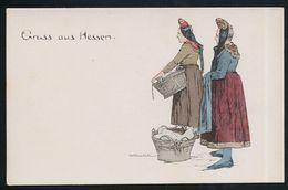 AK/CP Otto Ubbelohde  Gruss Aus Hessen  Trachten  Coloriert   Ungel/uncirc. Ca. 1908   Erhaltung/Cond.  1-  Nr. 00325 - Ubbelohde, Otto