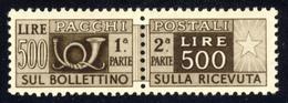 1946 – Pacchi Postali 500 Lire Bruno Scuro Filigrana Ruota (DA) MNH** - Pacchi Postali