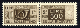 1946 – Pacchi Postali 500 Lire Bruno Scuro Filigrana Ruota (DA) MNH** - 1946-.. République