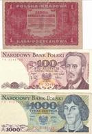LOTTO   BANCONOTE POLSKA 1 MARKA 1919-,100,1000 ZLOTYCH 1982,88 - Polonia