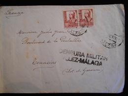 Enveloppe 1937 Espagne Censura Militar Velez Malaga  Lettre  CL18 - Marcas De Censura Nacional