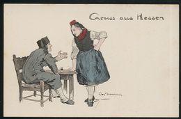 AK/CP Otto Ubbelohde  Gruss Aus Hessen  Trachten  Coloriert   Ungel/uncirc. Ca. 1908   Erhaltung/Cond.  2  Nr. 00327 - Ubbelohde, Otto